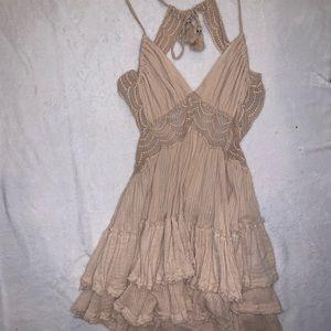 Free People Tan Ruffle Lace Up Dress
